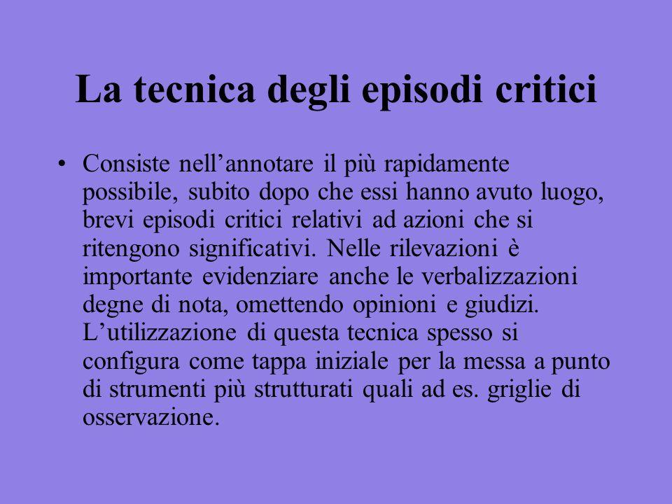 La tecnica degli episodi critici