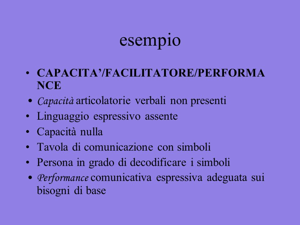 esempio CAPACITA'/FACILITATORE/PERFORMANCE