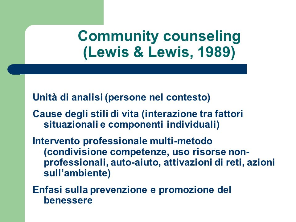 Community counseling (Lewis & Lewis, 1989)