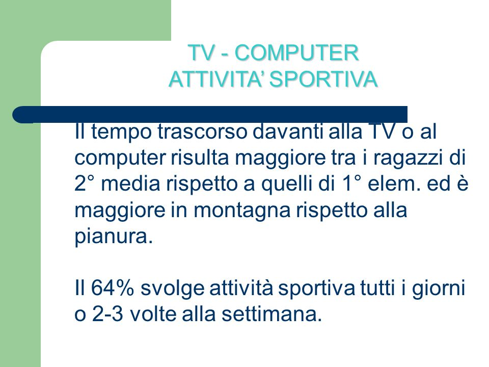 TV - COMPUTERATTIVITA' SPORTIVA.