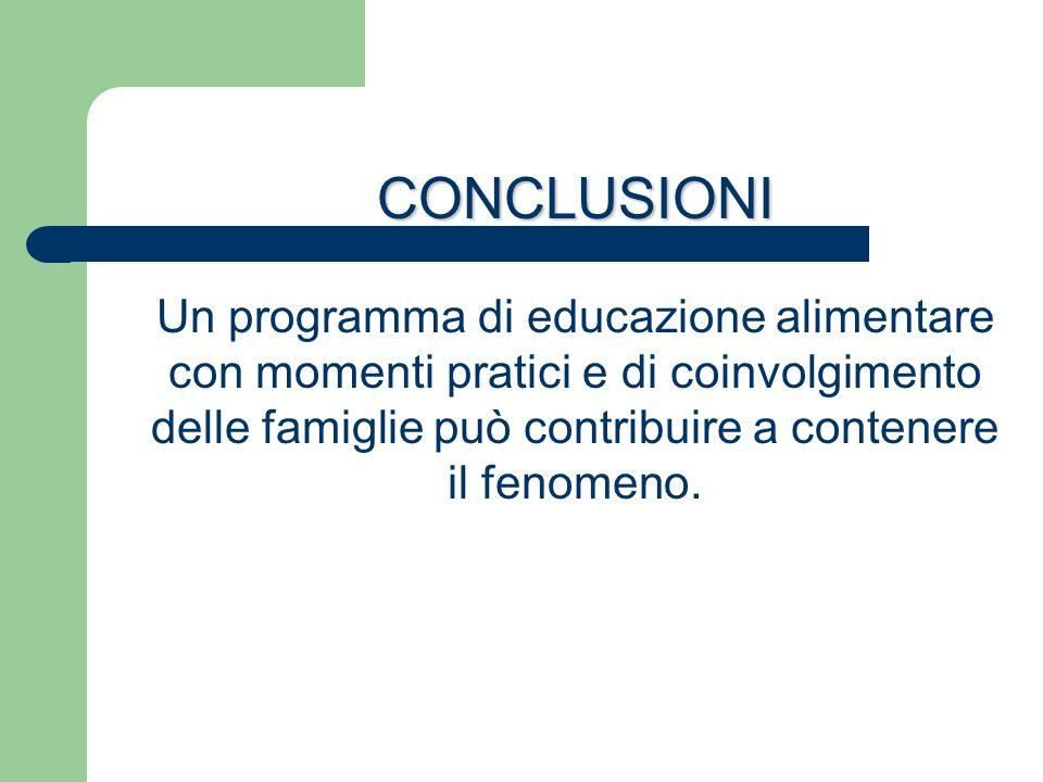CONCLUSIONI Un programma di educazione alimentare con momenti pratici e di coinvolgimento delle famiglie può contribuire a contenere il fenomeno.