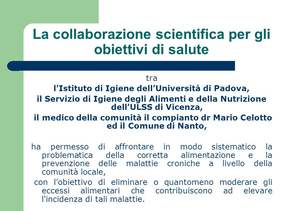 La collaborazione scientifica per gli obiettivi di salute