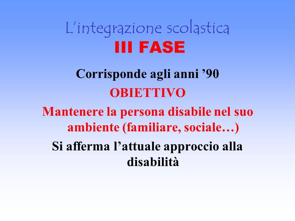 L'integrazione scolastica III FASE