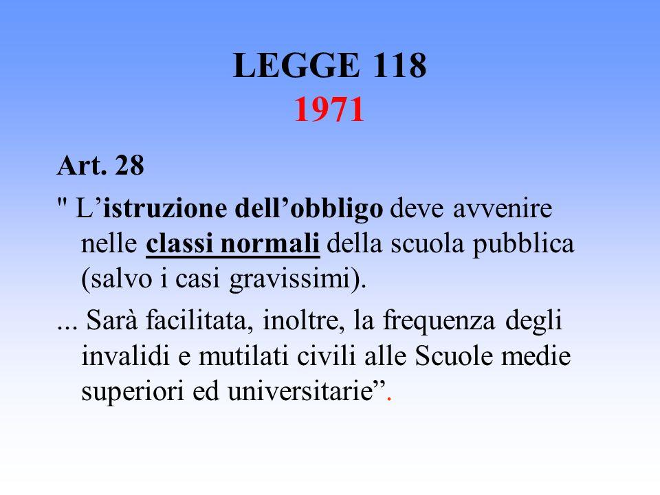 LEGGE 118 1971 Art. 28. L'istruzione dell'obbligo deve avvenire nelle classi normali della scuola pubblica (salvo i casi gravissimi).