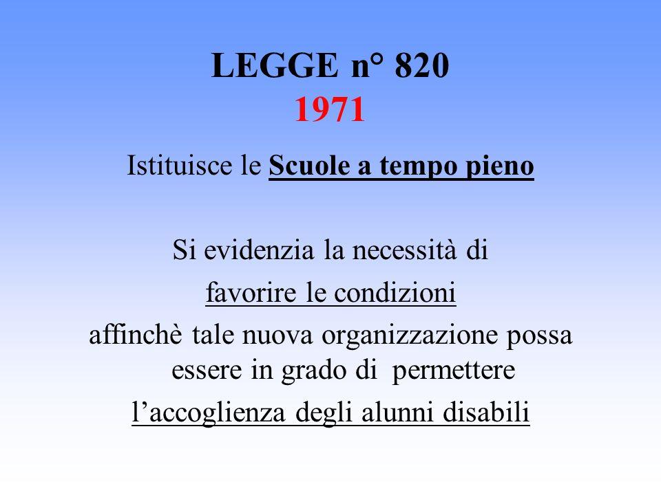 LEGGE n° 820 1971 Istituisce le Scuole a tempo pieno