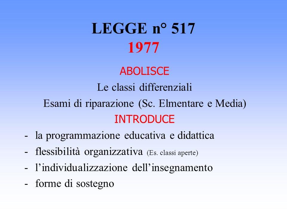 LEGGE n° 517 1977 ABOLISCE Le classi differenziali