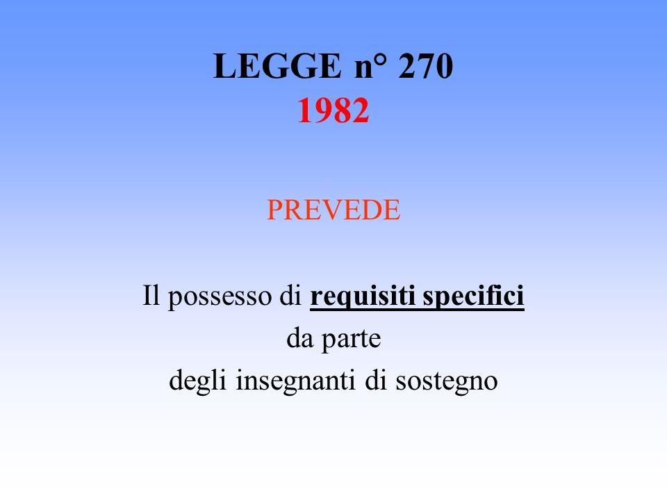 LEGGE n° 270 1982 PREVEDE Il possesso di requisiti specifici da parte