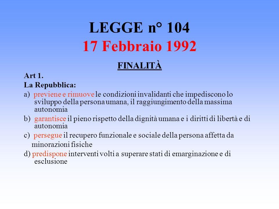 LEGGE n° 104 17 Febbraio 1992 FINALITÀ Art 1. La Repubblica: