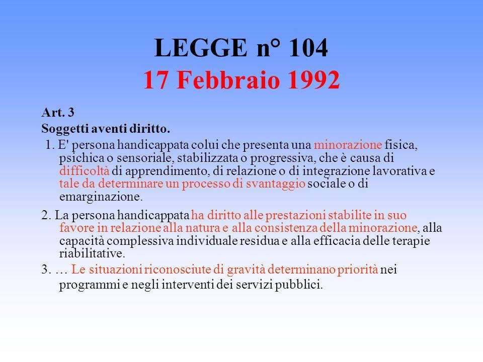 LEGGE n° 104 17 Febbraio 1992 Art. 3 Soggetti aventi diritto.