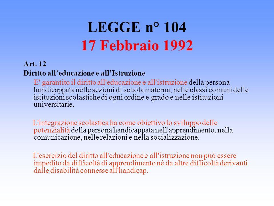 LEGGE n° 104 17 Febbraio 1992 Art. 12. Diritto all'educazione e all'Istruzione.