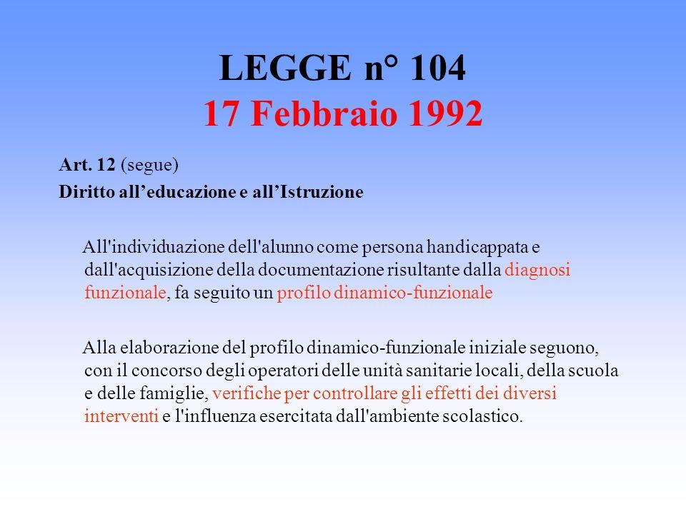 LEGGE n° 104 17 Febbraio 1992 Art. 12 (segue)