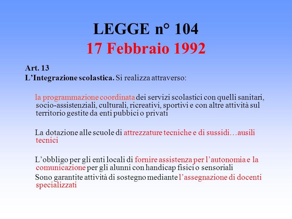 LEGGE n° 104 17 Febbraio 1992 Art. 13. L'Integrazione scolastica. Si realizza attraverso: