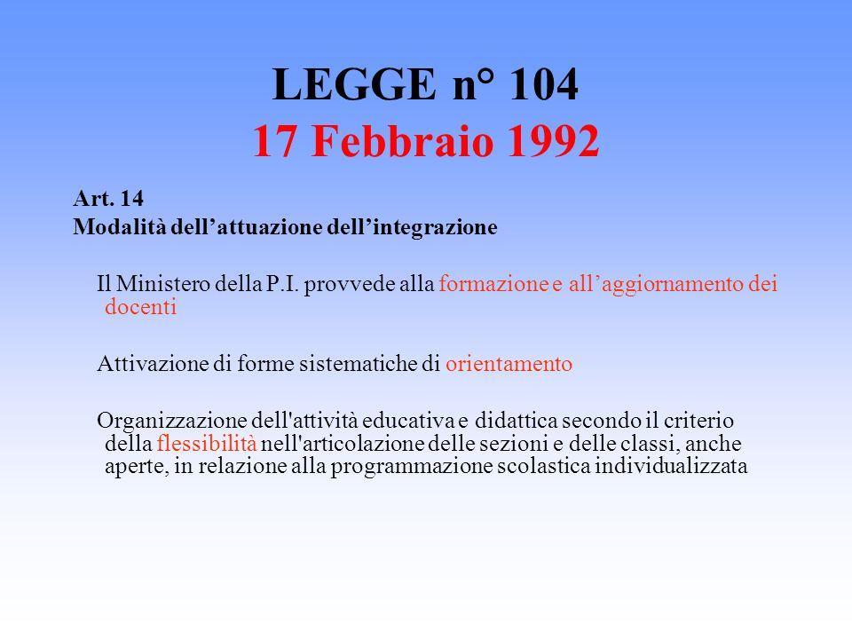 LEGGE n° 104 17 Febbraio 1992 Art. 14. Modalità dell'attuazione dell'integrazione.