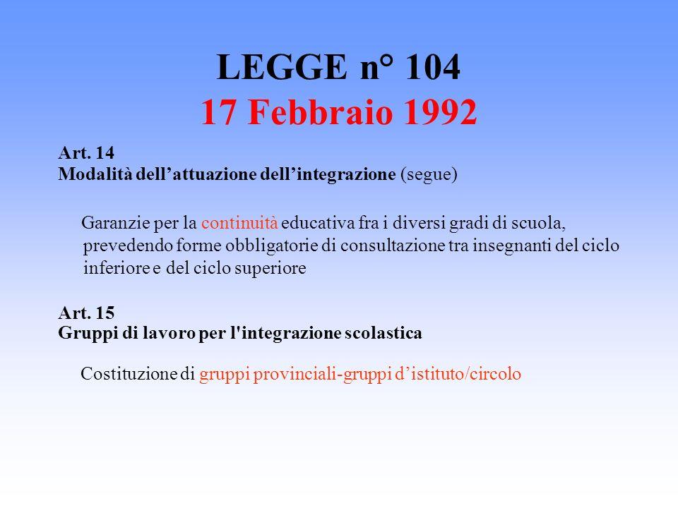 LEGGE n° 104 17 Febbraio 1992 Art. 14. Modalità dell'attuazione dell'integrazione (segue)