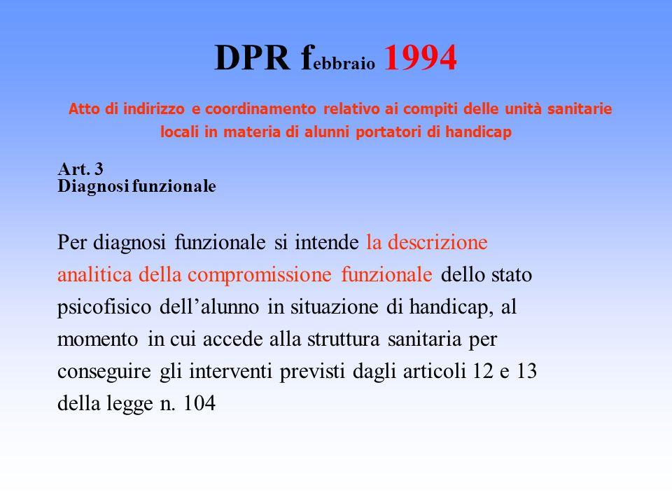 DPR febbraio 1994 Atto di indirizzo e coordinamento relativo ai compiti delle unità sanitarie locali in materia di alunni portatori di handicap