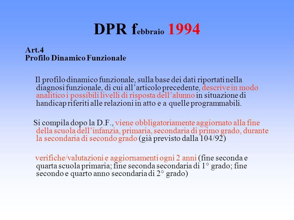 DPR febbraio 1994 Art.4 Profilo Dinamico Funzionale