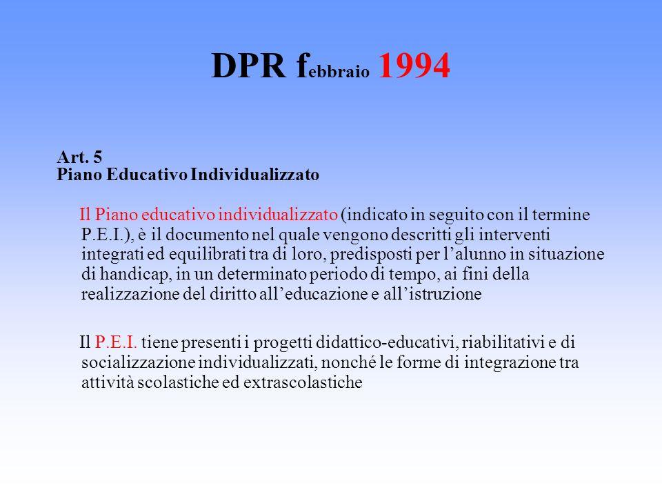 DPR febbraio 1994 Art. 5 Piano Educativo Individualizzato