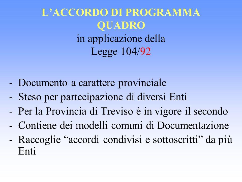 L'ACCORDO DI PROGRAMMA QUADRO in applicazione della Legge 104/92
