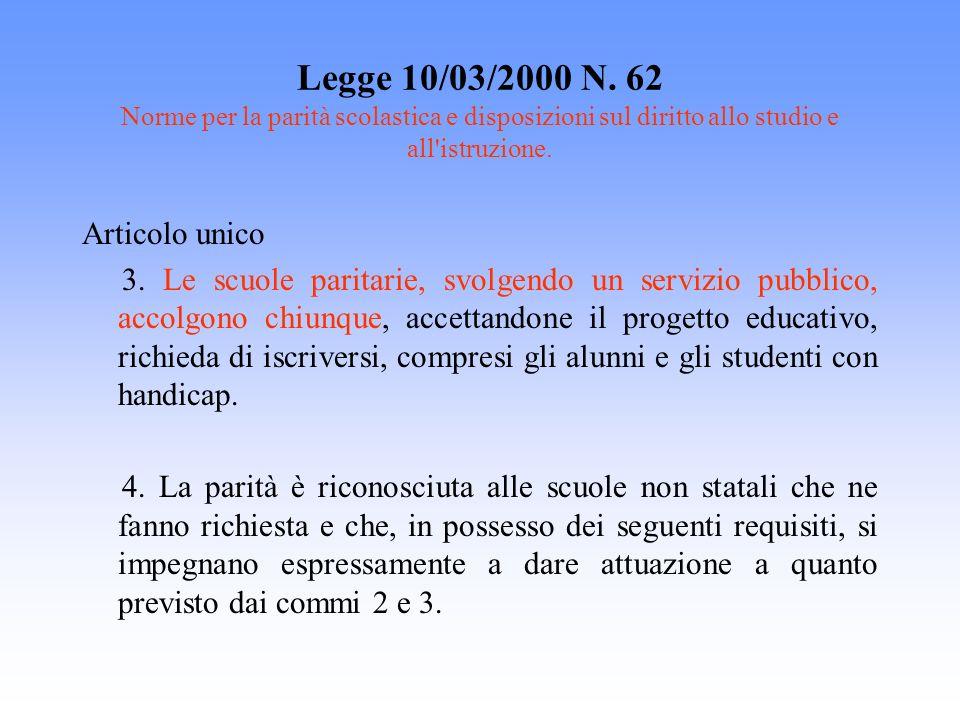 Legge 10/03/2000 N. 62 Norme per la parità scolastica e disposizioni sul diritto allo studio e all istruzione.
