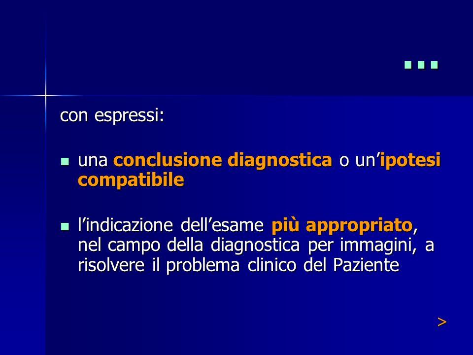 … con espressi: una conclusione diagnostica o un'ipotesi compatibile