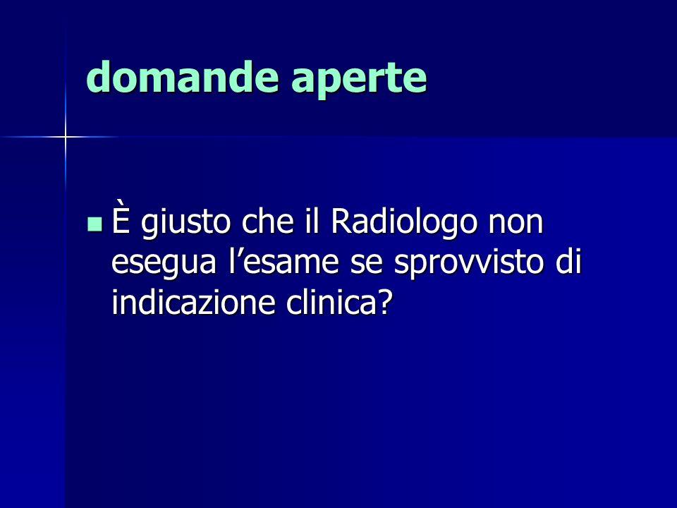 domande aperte È giusto che il Radiologo non esegua l'esame se sprovvisto di indicazione clinica