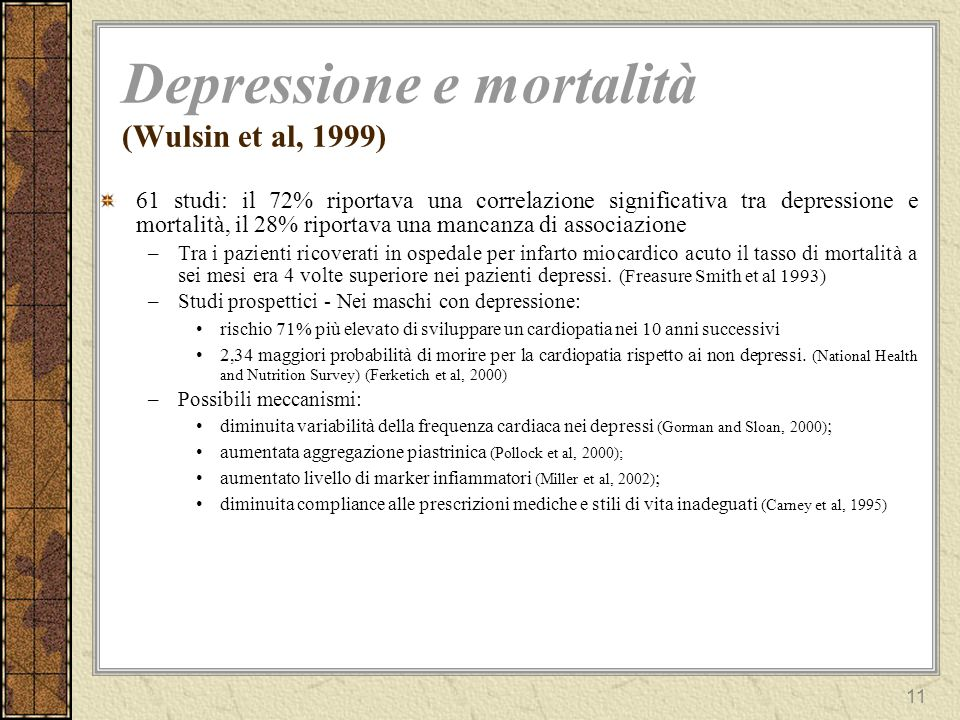 Depressione e mortalità (Wulsin et al, 1999)