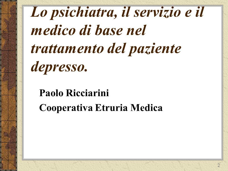Lo psichiatra, il servizio e il medico di base nel trattamento del paziente depresso.