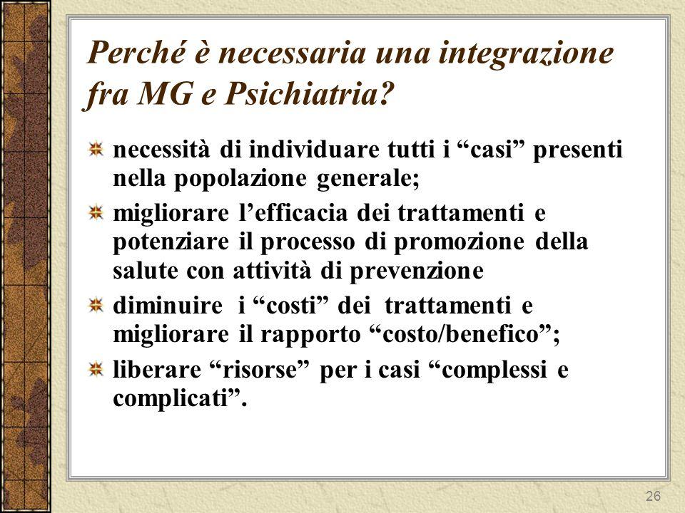 Perché è necessaria una integrazione fra MG e Psichiatria