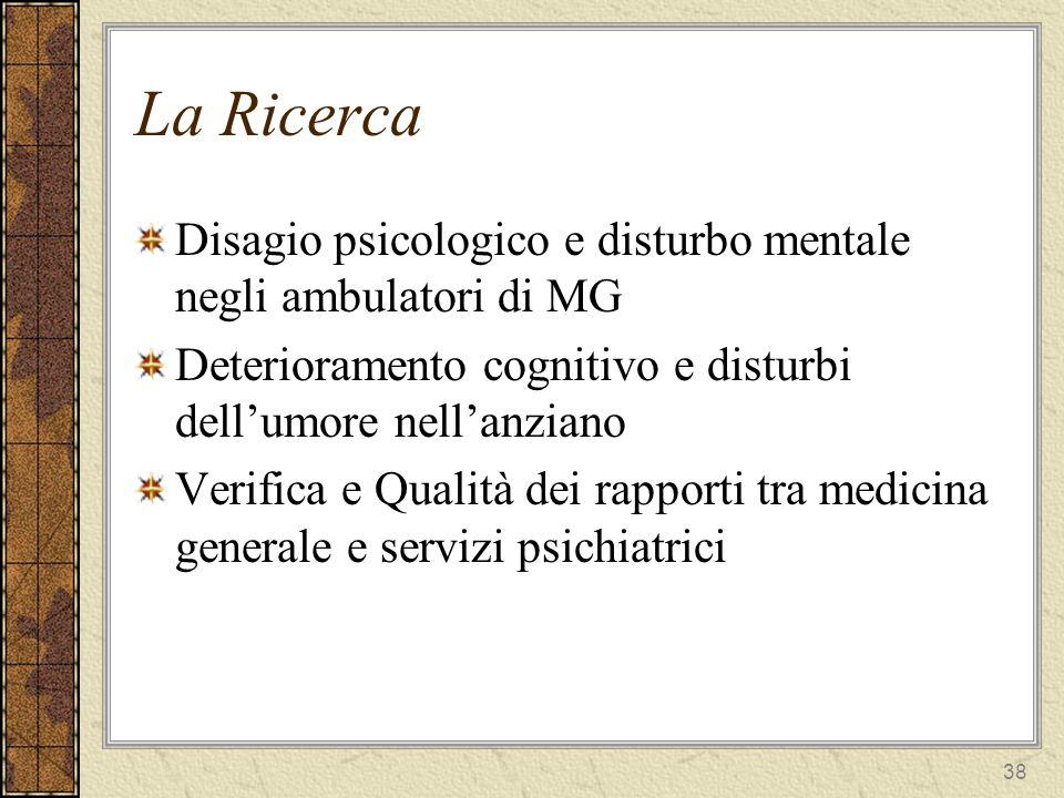 La Ricerca Disagio psicologico e disturbo mentale negli ambulatori di MG. Deterioramento cognitivo e disturbi dell'umore nell'anziano.
