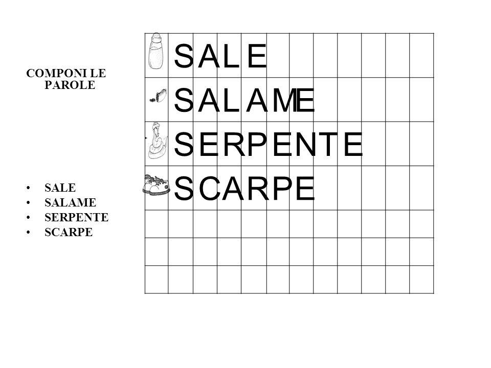 COMPONI LE PAROLE SALE SALAME SERPENTE SCARPE S A L E M R P N T C