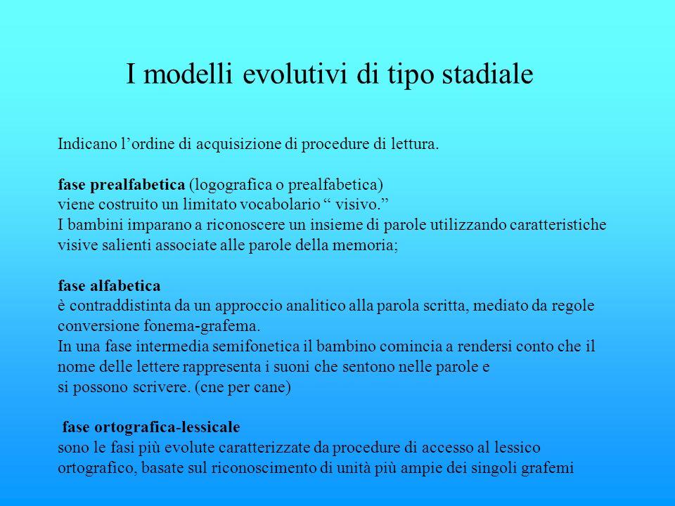 I modelli evolutivi di tipo stadiale