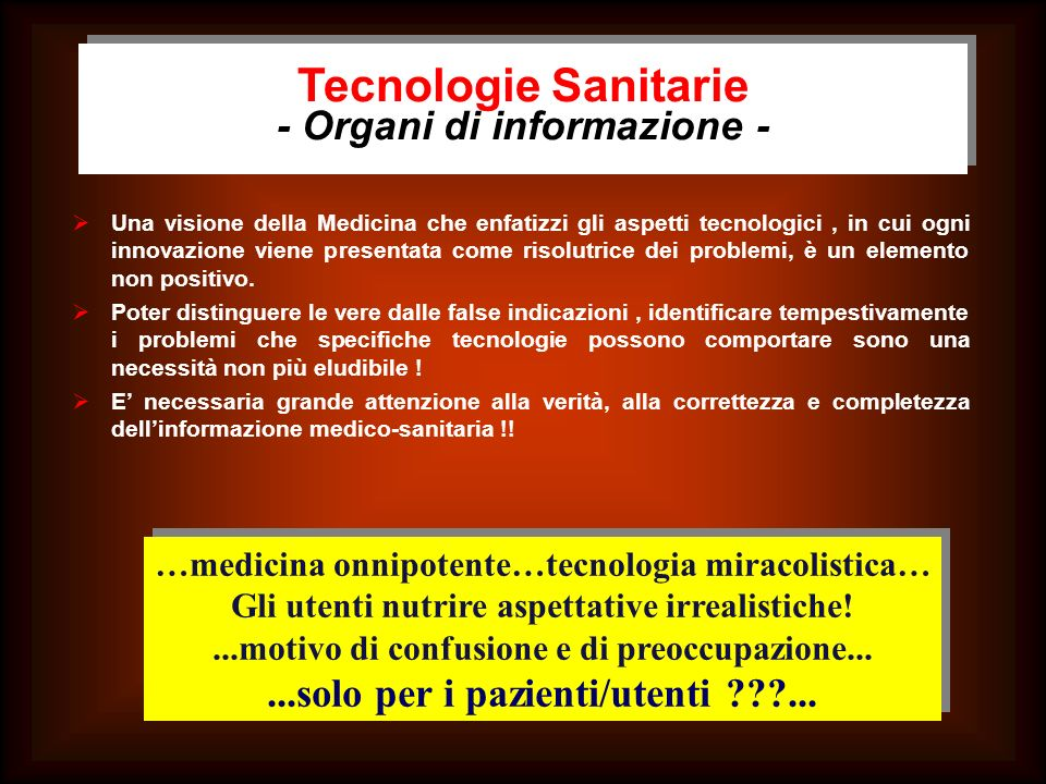 Tecnologie Sanitarie - Organi di informazione -