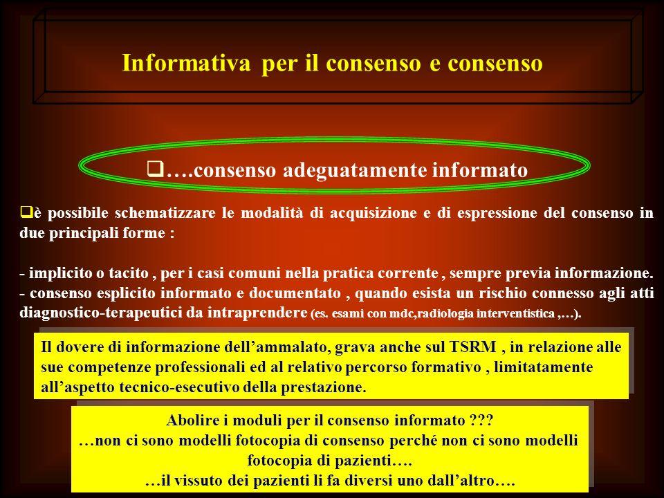 Informativa per il consenso e consenso