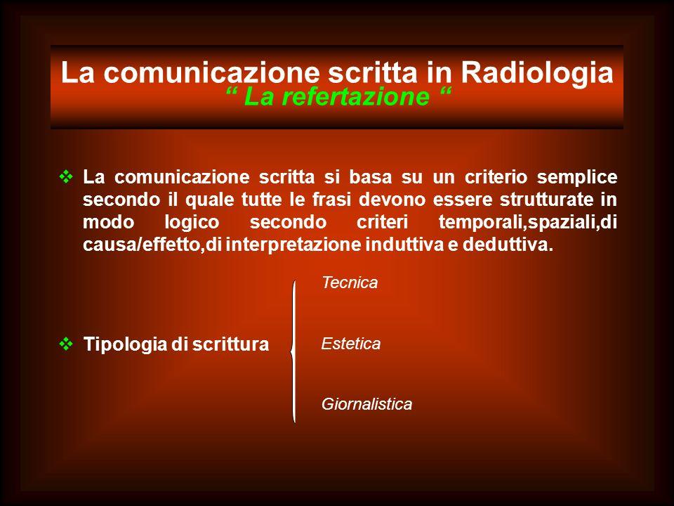 La comunicazione scritta in Radiologia La refertazione