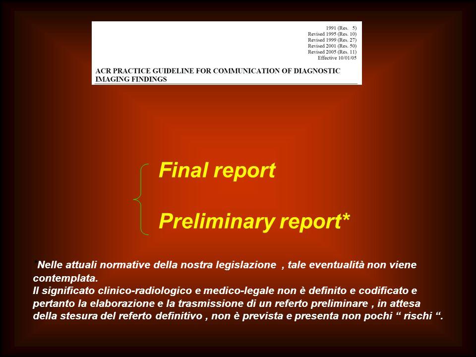 Final report Preliminary report*