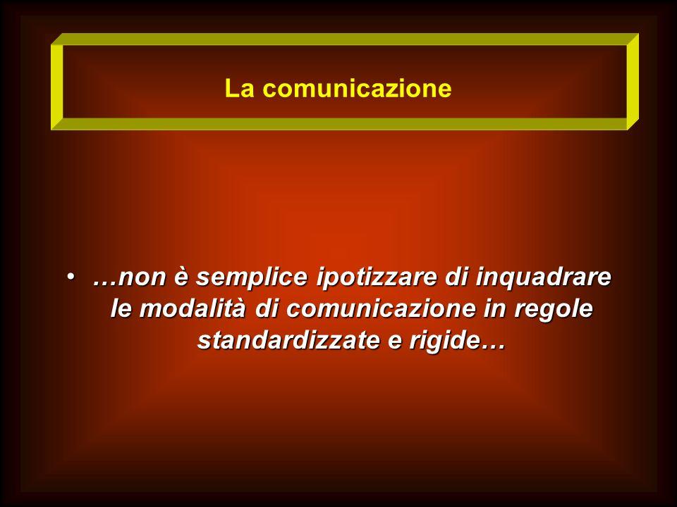La comunicazione …non è semplice ipotizzare di inquadrare le modalità di comunicazione in regole standardizzate e rigide…