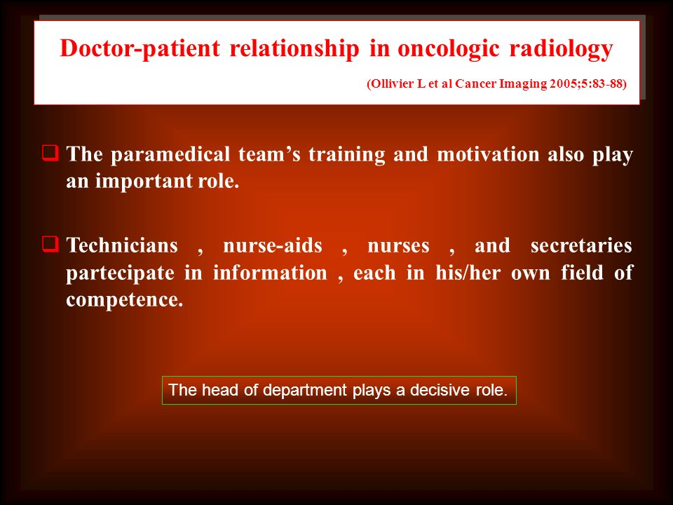 Doctor-patient relationship in oncologic radiology (Ollivier L et al Cancer Imaging 2005;5:83-88)