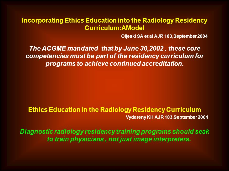 Ethics Education in the Radiology Residency Curriculum
