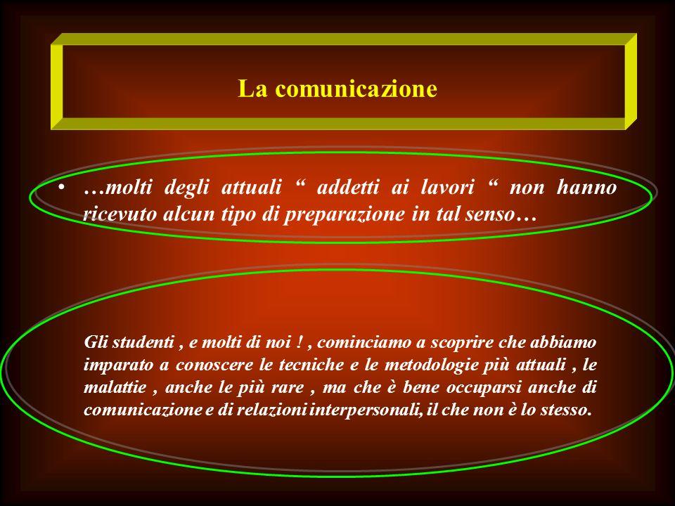 La comunicazione …molti degli attuali addetti ai lavori non hanno ricevuto alcun tipo di preparazione in tal senso…