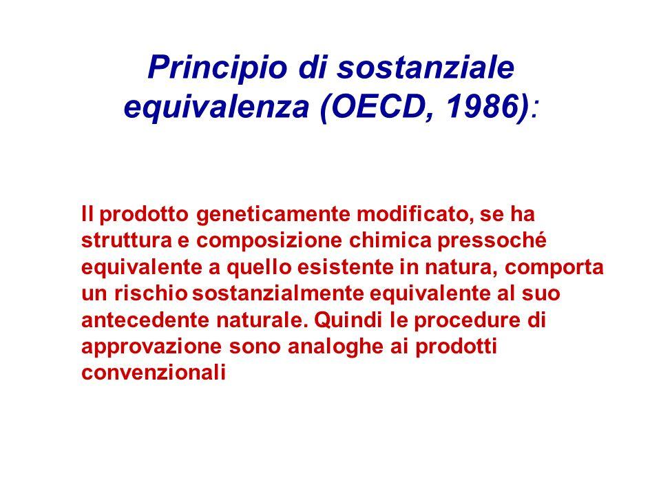 Principio di sostanziale equivalenza (OECD, 1986):