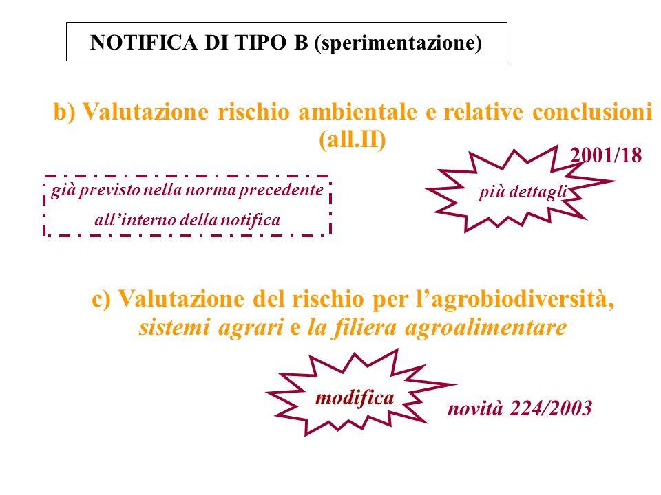 b) Valutazione rischio ambientale e relative conclusioni (all.II)