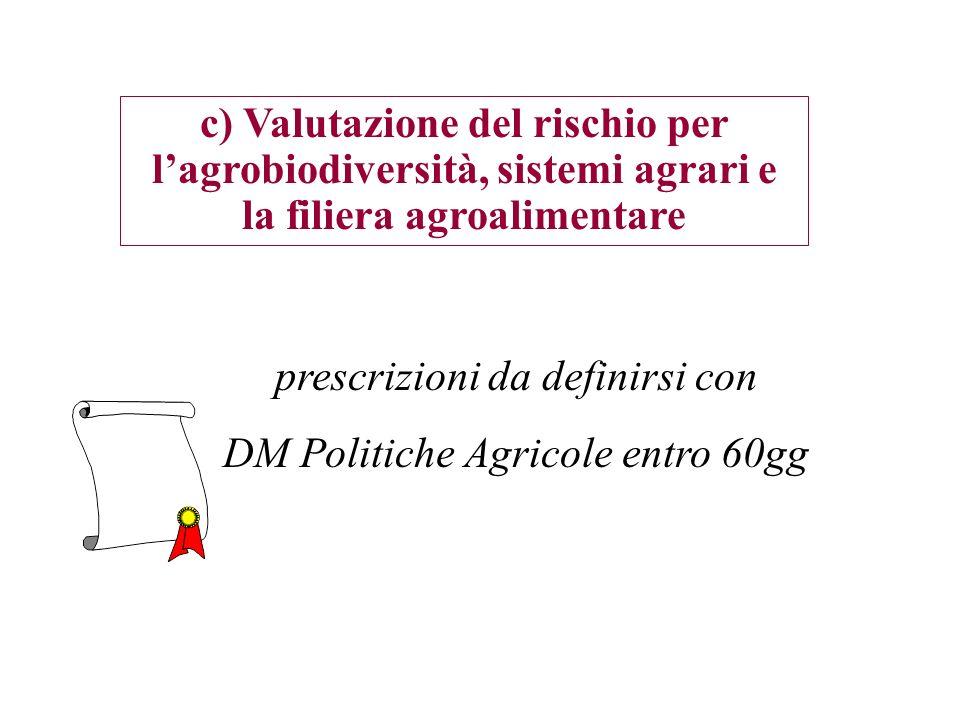 prescrizioni da definirsi con DM Politiche Agricole entro 60gg