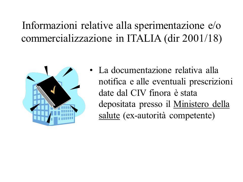Informazioni relative alla sperimentazione e/o commercializzazione in ITALIA (dir 2001/18)
