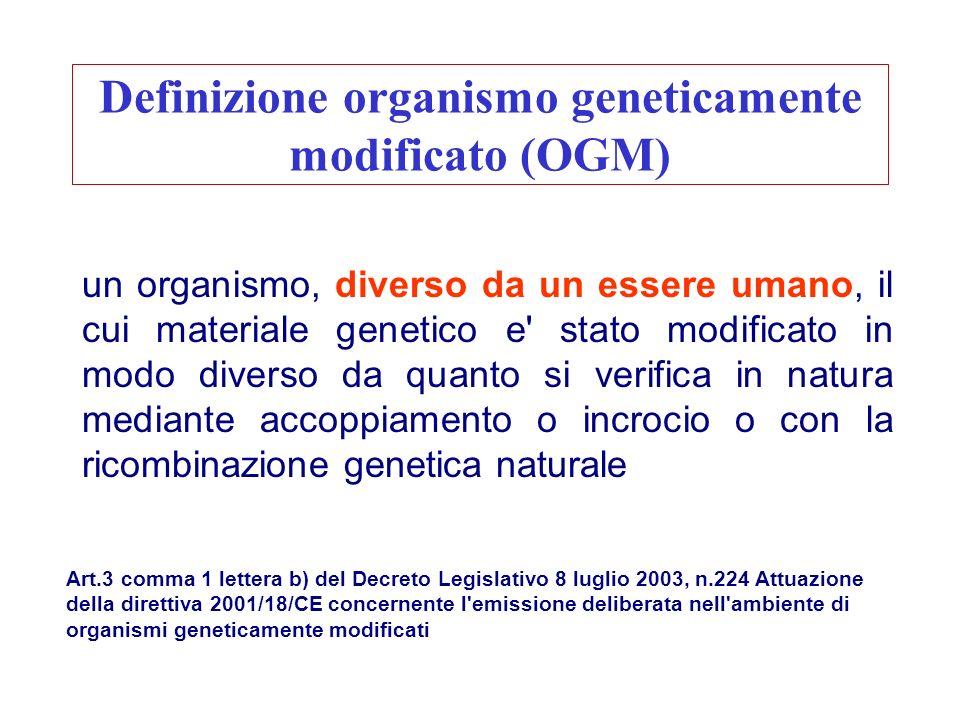 Definizione organismo geneticamente modificato (OGM)