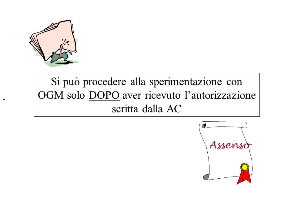 Si può procedere alla sperimentazione con OGM solo DOPO aver ricevuto l'autorizzazione scritta dalla AC