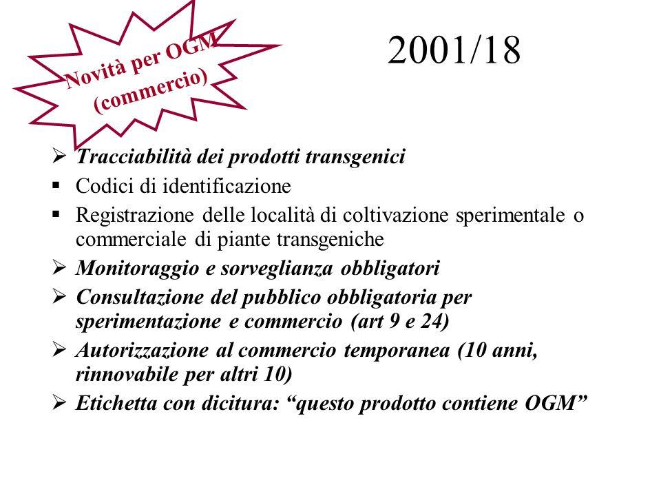 2001/18 Novità per OGM (commercio)