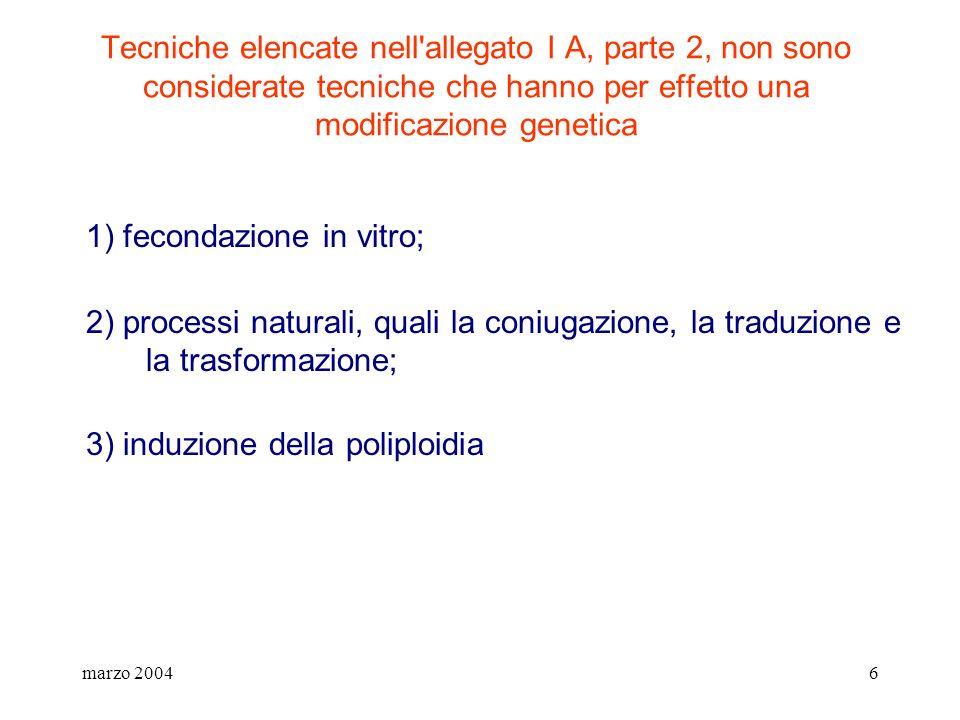 1) fecondazione in vitro;