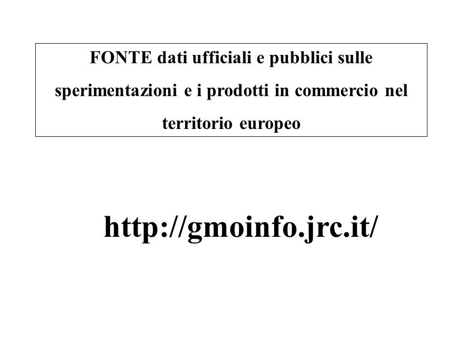 http://gmoinfo.jrc.it/ FONTE dati ufficiali e pubblici sulle