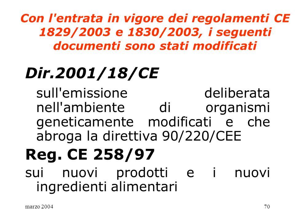 Con l entrata in vigore dei regolamenti CE 1829/2003 e 1830/2003, i seguenti documenti sono stati modificati
