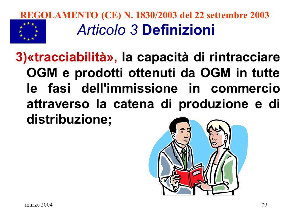 REGOLAMENTO (CE) N. 1830/2003 del 22 settembre 2003